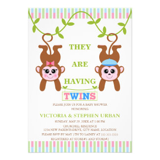 Cute Twin Boy and Girl Monkey Baby Shower Personalized Invitations