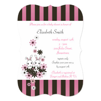 Cute Twin Bunny Pink and Black Girl Baby Shower 13 Cm X 18 Cm Invitation Card