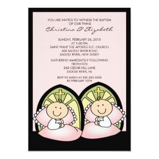 Cute Twin Girls Baptism Christening Inviation 13 Cm X 18 Cm Invitation Card