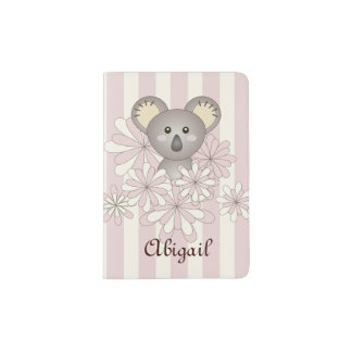 Cute Twin Koala Pastel Pink Stripes Kids Passport Holder