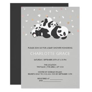 Cute Twin Panda Personalized Baby Shower Card