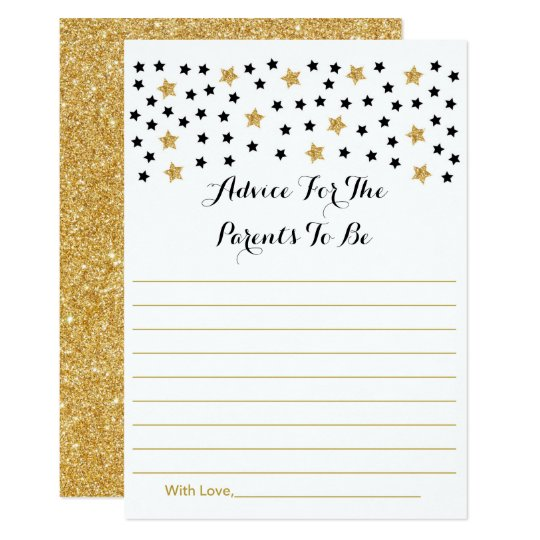 Cute Twinkle Star Advice Cards Black & Gold