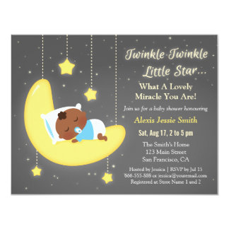 Cute Twinkle Twinkle Little Star Baby Brown Shower 11 Cm X 14 Cm Invitation Card