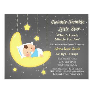 Cute Twinkle Twinkle Little Star Baby Shower 11 Cm X 14 Cm Invitation Card
