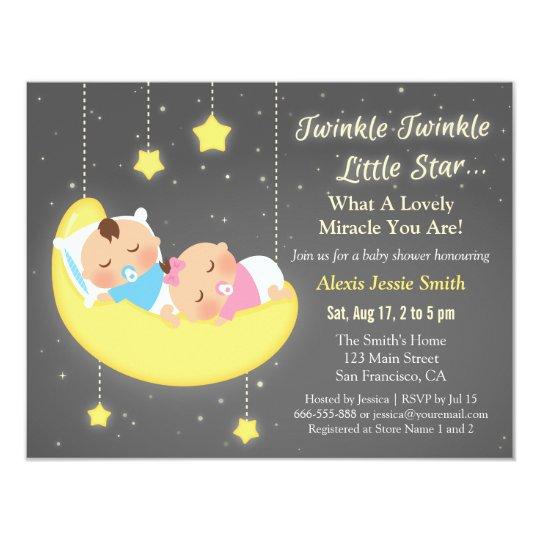 Cute Twinkle Twinkle Little Star Twins Baby Shower
