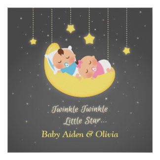 Cute Twinkle Twinkle Little Star Twins Poster