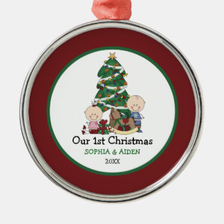 Cute Twins 1st Christmas Personalized Christmas Ornament