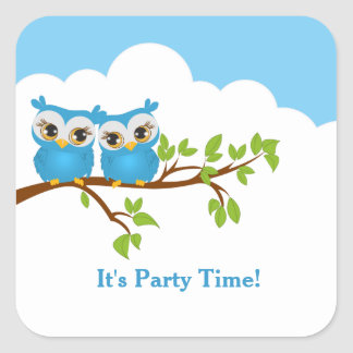 Cute Twins Owls Boys Birthday Sticker
