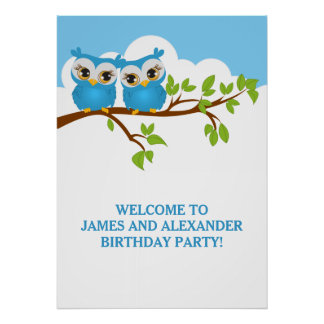 Cute Twins Owls on Branch Boys Birthday Poster