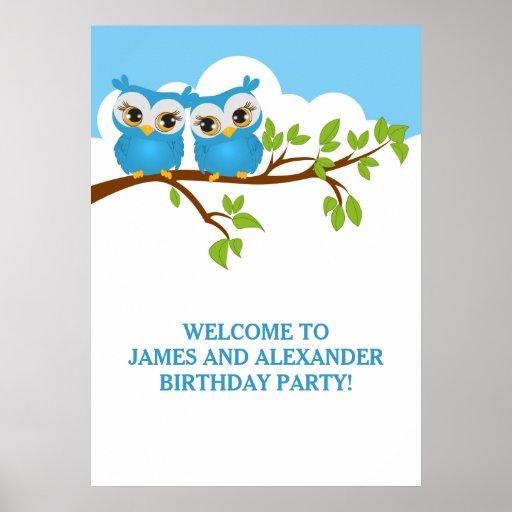 Cute Twins Owls on Branch Boys Birthday Poster Print