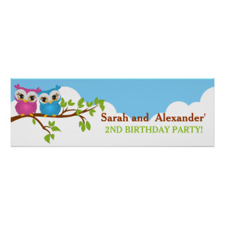 Cute Twins Owls on Branch Girl Boy Birthday Banner Print