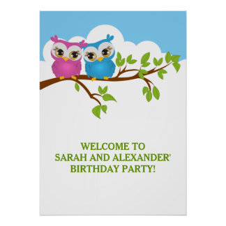 Cute Twins Owls on Branch Girl Boy Birthday Poster Poster