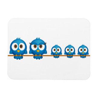 Cute twitter bird family cartoon rectangular photo magnet