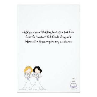 Cute Two Brides Cartoon Lesbian Wedding Invitation