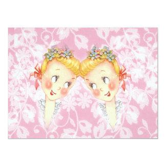 Cute Two Brides Pink Gay Wedding Invitation 17 Cm X 22 Cm Invitation Card
