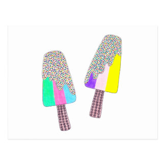 Cute Two Colorful Popsicles Postcard
