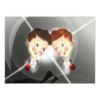 Cute Two Grooms Gay Wedding Invitation 17 Cm X 22 Cm Invitation Card