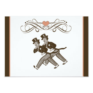 Cute Two Grooms Gay Wedding Invitation Brown Pink