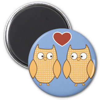 Cute two owls heart illustration fridge magnet