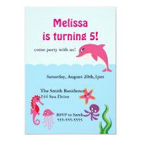 Dolphin invitations announcements zazzle uk cute under the sea dolphin birthday party invite filmwisefo