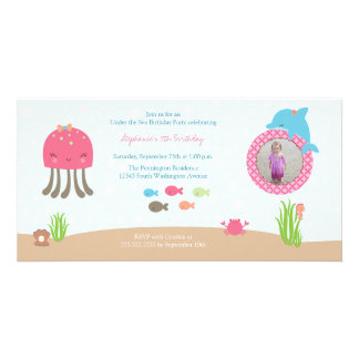 Cute under the Sea girls birthday party invitation Custom Photo Card