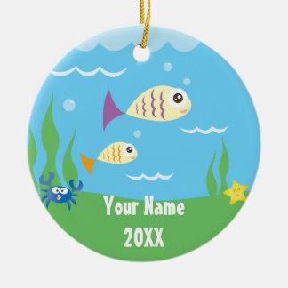 Cute Under The Sea Ocean Aquarium Add Your Name Round Ceramic Decoration