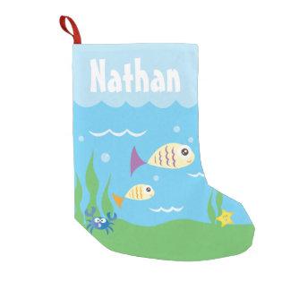 Cute Under The Sea Ocean Aquarium Add Your Name Small Christmas Stocking
