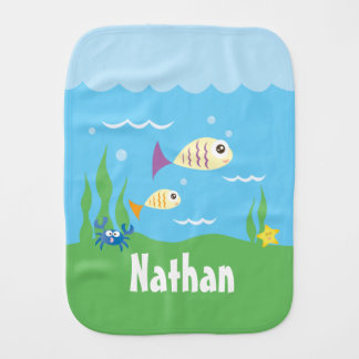 Cute Under The Sea Ocean Fish Starfish And Crab Burp Cloth
