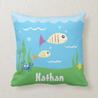 Cute Under The Sea Ocean Fish Starfish And Crab Cushion