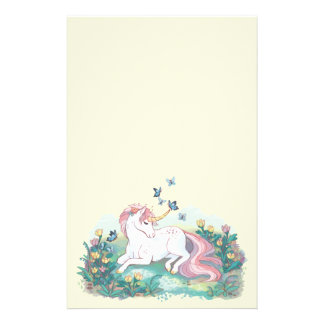 Cute Unicorn and Blue Butterflies in Tulip Field Stationery