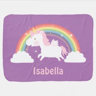 Cute Unicorn and Rainbow Baby Girls Blanket