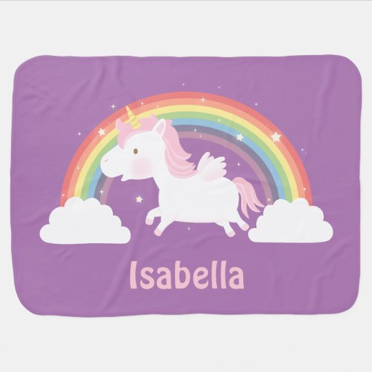 Cute Unicorn and Rainbow Baby Girls Blanket Buggy