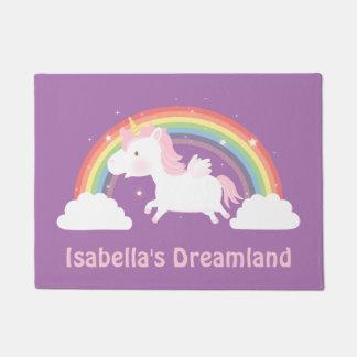 Cute Unicorn and Rainbow Girls Room Door Mat