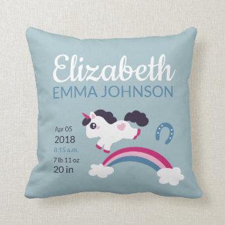 Cute Unicorn Baby Birth Stats Cushion
