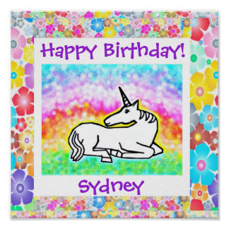 Cute Unicorn BIrthday Poster