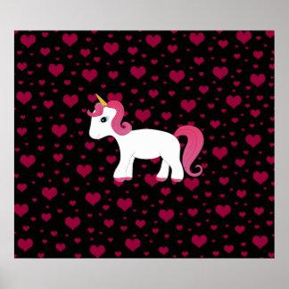 Cute unicorn black pink hearts print