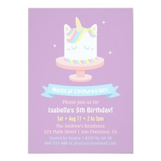 Cute Unicorn Cake Girls Birthday Party Invitations Zazzlecouk