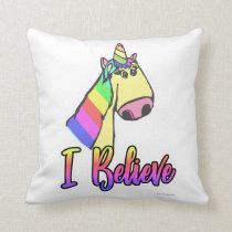 Cute Unicorn Cartoon Motto Cushion