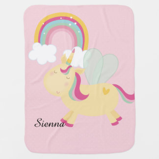 Cute Unicorn * Choose your background color Baby Blanket