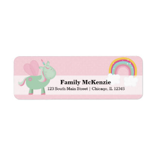 Cute Unicorn * CHOOSE your background color Return Address Label