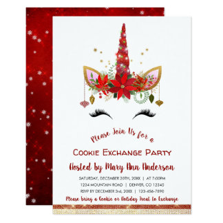 Cute Unicorn Christmas Cookie Exchange Party Card