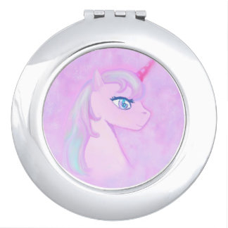 cute unicorn compact mirror