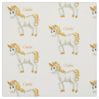 Cute Unicorn custom name fabric