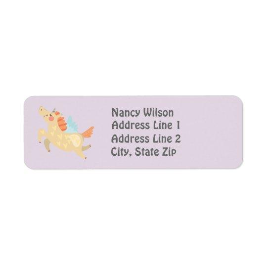Cute Unicorn Custom Return Address Label