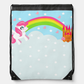 cute unicorn Drawstring Backpack