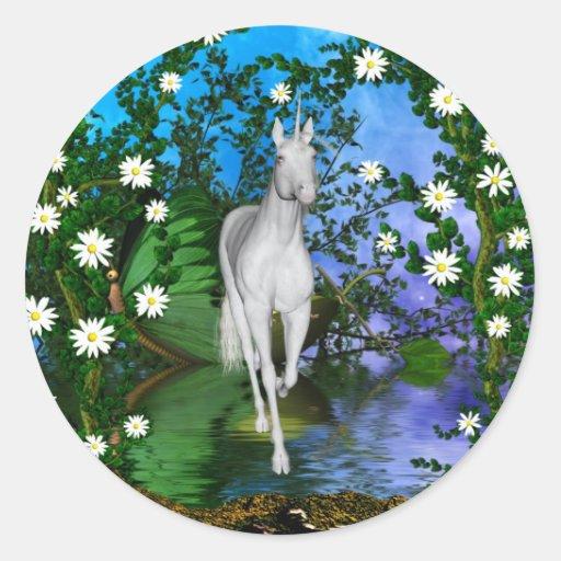 Cute Unicorn Fantasy 1 Round Sticker