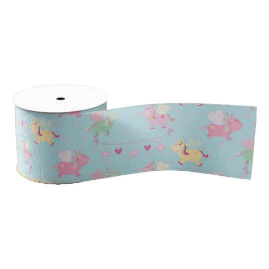Cute unicorn grosgrain ribbon