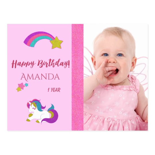 Cute unicorn happy 1st birthday with photo postcard