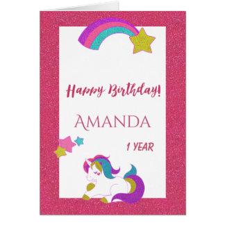 Cute unicorn happy magical day 1st birthday white card