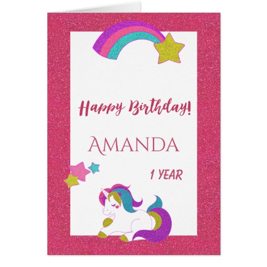 Cute unicorn happy magical day 1st birthday white